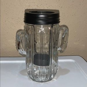 Clear and black cactus mini candle holder